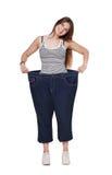 Die junge Frau, die von der Gewichtsverlustdiät glücklich ist, resultiert, lokalisiert Stockbild