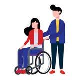 Die junge Frau, die in einem Rollstuhl sitzen und der männliche Jungenhelfer halten ihn vektor abbildung