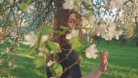 Die junge Frau, die in einen Apfelgarten blüht geht im Frühjahr, Weiß Porträt eines schönen Mädchens in der Abendfrucht stock video