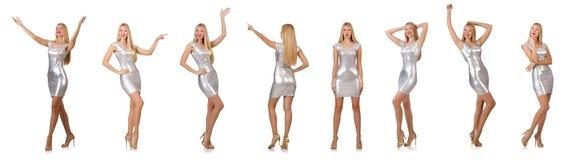 Die junge Frau im silbernen Kleid lokalisiert auf Weiß Stockbilder