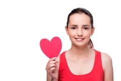 Die junge Frau mit Herzen formte auf Weiß Lizenzfreies Stockfoto