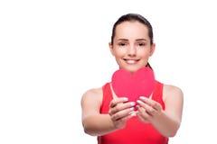 Die junge Frau mit Herzen formte lokalisiert auf Weiß Stockbilder