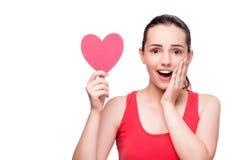 Die junge Frau mit Herzen formte lokalisiert auf Weiß Lizenzfreie Stockfotos