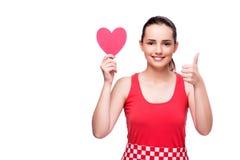 Die junge Frau mit Herzen formte lokalisiert auf Weiß Lizenzfreies Stockfoto