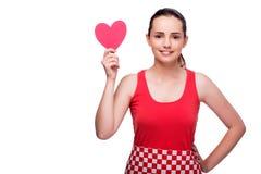 Die junge Frau mit Herzen formte lokalisiert auf Weiß Lizenzfreies Stockbild
