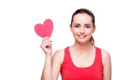 Die junge Frau mit Herzen formte lokalisiert auf Weiß Stockfotografie