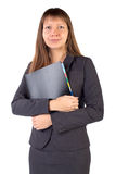 Die junge Geschäftsfrau ist ein Faltblatt in seinen Händen Stockbilder