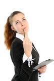 Die junge Geschäftsfrau reflektiert sich Lizenzfreie Stockbilder