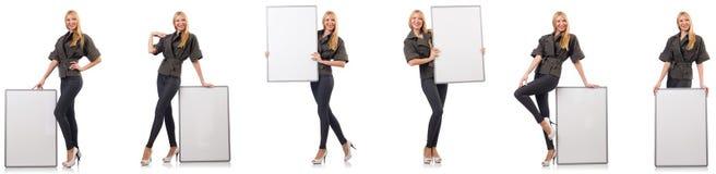 Die junge Schönheit mit whiteboard lokalisiert auf Weiß stockbild