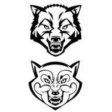 Die Köpfe des Wolfs, die Zähne zeigen Stockfotos