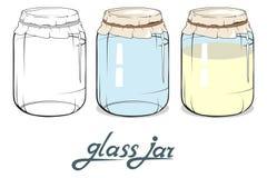 Die Körner des Kaffees werden auf einer Tabelle verschüttet Glashand gezeichnet Beschriftung des Glasgefäßes stock abbildung