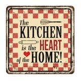 Die Küche ist das Herz des rostigen Metallschildes der Hauptweinlese Stockbild