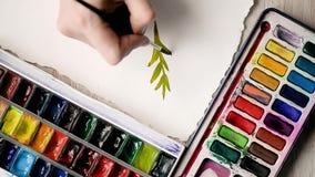 Die Künstlerfarben mit Aquarellfarben auf einem Blatt Papier Hände mit einer Bürste im Rahmen stock video footage