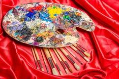 Die Künstlerpalette im Kunstkonzept Stockfotos