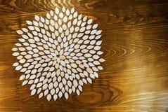 Die Kürbiskerne, die in einer Blume enthalten werden, kreist auf dunklem Brett ein Für a Stockbilder