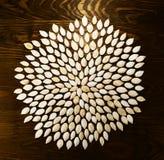 Die Kürbiskerne, die in einer Blume enthalten werden, kreist auf dunklem Brett ein Für a Lizenzfreies Stockbild