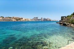 Die Küstenlinie von Valletta Stockbild