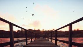 Die Kamera fliegt über eine Holzbrücke auf einer Tropeninsel mit einem exotischen weißen Strand auf Sonnenuntergang Grüne Palmen, stock video