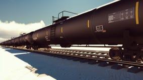 Die Kamera fliegt hinter die Eisenbahn mit den Zisternen, die durch sie mit Öl überschreiten Wiedergabe 3d vektor abbildung