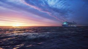 Die Kamera fliegt in Richtung zu einem Luxuskreuzschiffsegeln vom Hafen bei Sonnenaufgang über dem Meer stock video