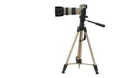 Die Kamera mit dem großen Objektiv Stockfoto