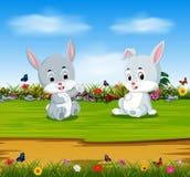 Die Kaninchen entspannen sich am sonnigen Tag mit dem vollen Magen vektor abbildung