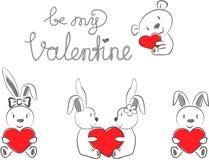 Die Kaninchen und der Bär des Valentinsgrußes mit rotem Herzen vektor abbildung