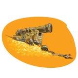 Die Kanone auf dem Piratenschiff stock abbildung