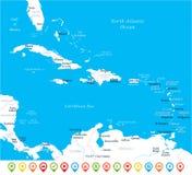 Die karibische Karte - Vektor-Illustration vektor abbildung