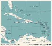 Die karibische Karte - Weinlese-Vektor-Illustration stock abbildung