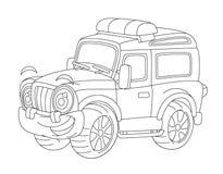 Die Karikatur, die weg vom Straßenfeuer glücklich und lustig sind oder die Polizei tauscht,/lächelndes Fahrzeug - Farbtonseite stock abbildung