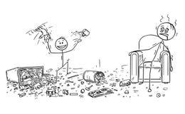 Die Karikatur von frechem Little Boy Verwirrung tuend, erschöpfter Vater sitzt im Lehnsessel vektor abbildung