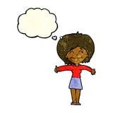 die Karikaturfrau, die Daumen gibt, up Zeichen mit Gedankenblase Lizenzfreies Stockbild