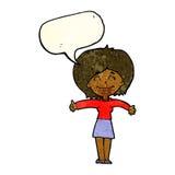 die Karikaturfrau, die Daumen gibt, up Zeichen mit Spracheblase Stockfoto