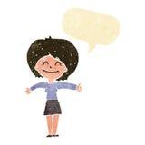 die Karikaturfrau, die Daumen gibt, up Zeichen mit Spracheblase Stockfotos
