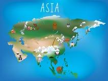 Die Karte der Kinder, Asien und asiatischer Kontinent mit Marksteinen und Anima vektor abbildung