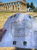 Die Karte der Ruinen Paestum lizenzfreies stockbild