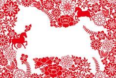 Die Karte des neuen Jahres. Jahr des Pferds. Stockbild