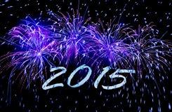Die Karte 2015 des neuen Jahres mit Feuerwerken stockfotos