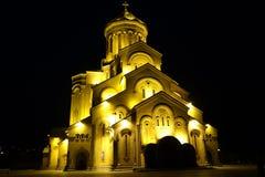 Die Kathedrale der Heiligen Dreifaltigkeit von Tiflis Cminda Samebis lizenzfreie stockfotografie