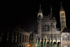 Die Kathedrale unserer Dame in Tournai Stockfotos