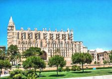 Die Kathedrale von Santa Maria von Palma stock abbildung