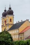 Die katholische hauptsächlichkathedrale der Stadt von Trencin in Slowakei Stockfotos