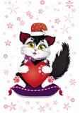 Die Katze des neuen Jahres mit einem großen liebevollen Herzen in Eile zu den Quadraten für den Feiertag vektor abbildung