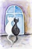 Die Katzen des Nachtvalentinsgrußes Stockfotos