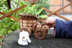 Die Kind-` s Hand spielt mit einer Schreibmaschine, die vom Holz und von einem kleinen Spielzeug mit einem Hund auf seinem Hanf h stockfotos