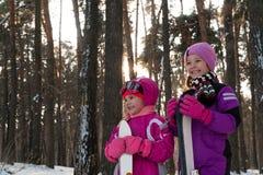 Die Kinder, die in den Waldwinter-Schneekindern Ski fahren, gehen in den Park stockfotografie