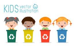 Die Kinder, die den Abfall, Abfall aufbereitend trennen, retten die Welt, Vektor-Illustration lizenzfreie abbildung