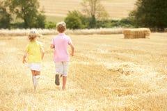 Die Kinder, die durch Sommer laufen, ernteten Feld Lizenzfreies Stockbild