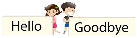 Die Kinder, die Zeichen halten, sagen und Auf Wiedersehen Guten Tag Stockbilder